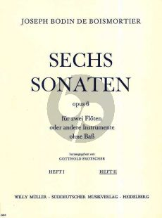 Boismortier 6 Sonaten Op. 6 Vol. 2 2 Flöten (Gotthold Frotscher)