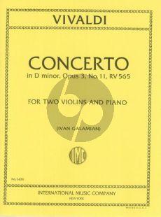 Vivaldi Concerto d-minor Op.3 No.11 (RV 565) (2 Violins-Strings-Bc) (piano red.) (Galamian)