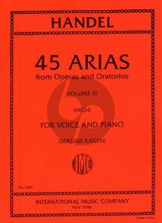 Handel 45 Arias Vol. 3 High Voice and Piano (Sergius Kagen)
