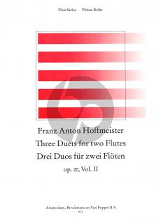 Hoffmeister 3 Duets Op.20 Vol.2 2 Flutes (edited by Nikolaus Delius) (Grade 3) (Playing Score)
