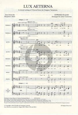 Elgar Lux Aeterna SSAATTBB (Choral Setting of Nimrod from Enigma Variations) (Cameron)