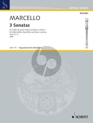 Marcello 3 Sonatas Op. 2 No.1 - 3 Treble Recorder-Bc (edited by Hugo Ruf)