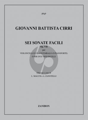 Cirri 6 Sonate Facili op.7 cello-piano (ed. Malusi and Zanotelli)