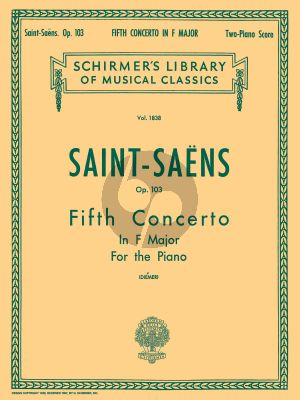 Saint-Saens Concerto No. 5 F-major Opus 103 Piano and Orchestra (edition for 2 Piano's)