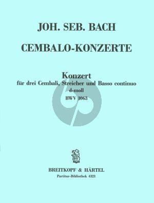 Bach Konzert d-moll BWV 1063 3 Cembali-Streicher-Bc Partitur