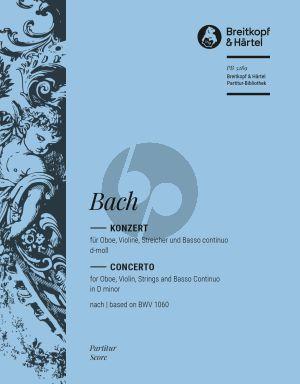 Bach Konzert d-moll nach BWV 1060 Oboe-Violine-Streicher-Bc (Partitur) (Klaus Hofmann)