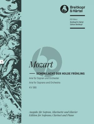 Mozart Schon lacht der holde Fruhling (KV 580) Sopran Stimme-Klarinette Bb-Klavier)