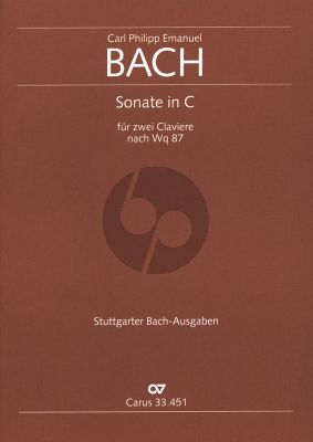Bach 2 Sonaten nach WQ 87 (orig. Flute-Bc. adapted for 2 piano's by the composer) (1776) 2 Harpsichords (Partitur) (edited Ulrich Leisinger)