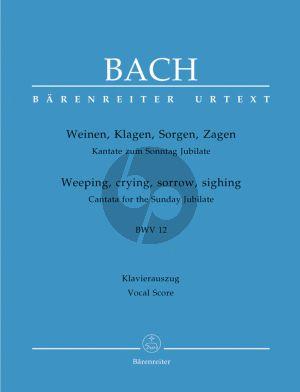 Bach J.S. Kantate BWV 12 Weinen Klagen Sorgen Zagen Vocal Score (Weeping, crying, sorrow, sighing BWV 12) (German / English)