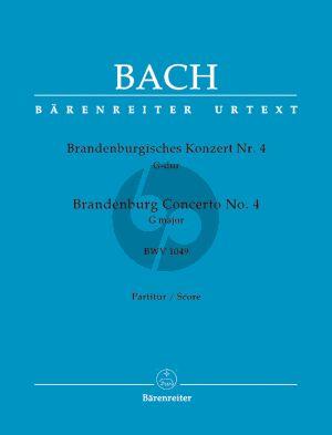 Bach Brandenburgisches Konzert No.4 G-Dur BWV 1049 2 Altblockfl.-Violine-Streicher Partitur (Heinrich Besseler) (Barenreiter-Urtext)