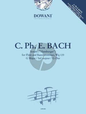 "Bach Sonata G-major WQ 133 ""Hamburger Sonata"" Flute-Bc Boek-CD (Dowani)"
