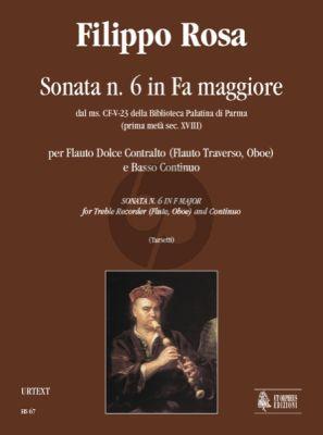 Rosa Sonata No. 6 F-major Treble Recorder (Flute or Oboe) and Bc (edited Valeria Tarsetti)