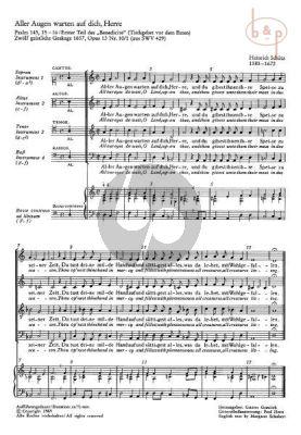 """Das Benedicite vor dem Essen """"Aller Augen warten auf dich Herrn"""" SWV 429 (SATB-Bc) (aus 12 Geistliche Gesange 1657 Op.13 No.10)"""