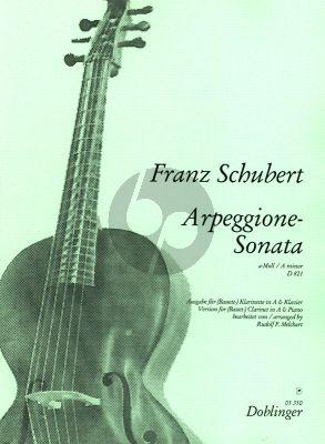 Schubert Sonate Arpeggione a-moll D 821 Klarinette (A) und Klavier (transcr. Rudolf F. Melchart)