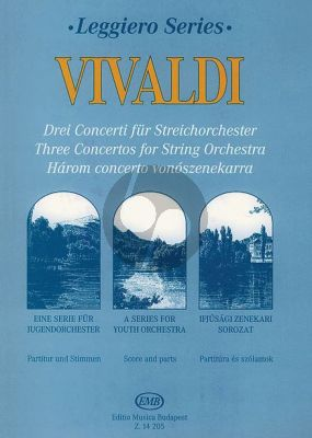 Vivaldi 3 Concertos String Orchestra-Cembalo (Score-Parts)
