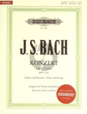 Bach Concerto a minor BWV 1041 Violin-Strings-Bc (piano red.) (Bk-Cd)