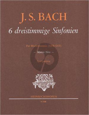 Bach 6 dreistimmige Sinfonien 3 Blockflöten (ATB/SAT) (BWV 791, 792, 794, 796, 799, 801) (Spielpartitur Martin Nitz)