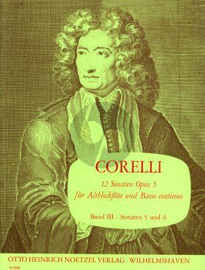 Corelli 12 Sonaten Op.5 Vol.3 (No.5-6 c-moll/C-dur) fur Altblockflote und Bc (Herausgegeben von Martin Nitz)