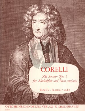 Corelli 12 Sonaten Op.5 Vol.4 (No.7-8 g-moll/g-moll) Altblockflote und Bc (Herausgegeben von Martin Nitz)