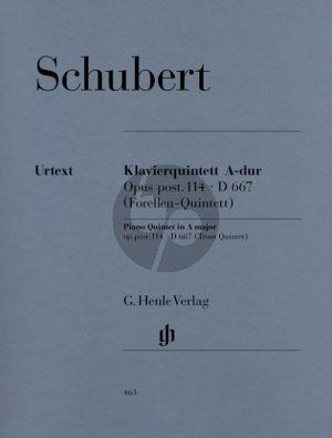 Schubert Quintett A-dur op. post. 114 D 667 (Forellenquintett) Klavier, Violine, Viola, Violoncello und Kontrabass (Herausgegeben von Wiltrud Haug-Freienstein Fingersatz Klaus Schilde) (Henle-Urtext)