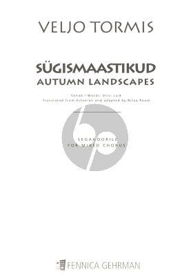 Tormis Sugismaastikud Autumn Landscapes for Mixed Voices