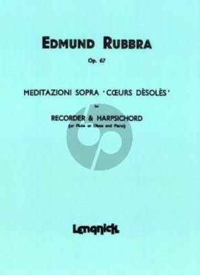 Rubbra Meditation sopra 'Coeurs Désolés' Op.67 Treble Recorder[Flute/Oboe]-Piano