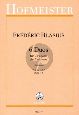 Blasius 6 Duos Vol.1 (No.1-3) 2 Fagotte (Fritz Essmann) (interm.-adv.level)