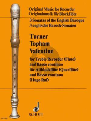 3 Englische Barock Sonaten (Turner-Topham- Valentine) Altblockflöte-Bc (Hugo Ruf)