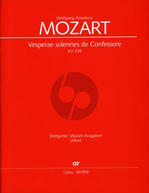 Mozart Vesperae Solennes de Confessore KV 339 Partitur (Wolfgang Horn)