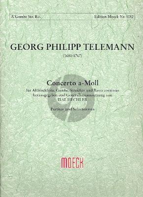 Telemann Konzert a-moll TWV 52:a1 Altblockflöte-Gambe-Streicher-Bc (Partitur/Stimmen) (Hechler)