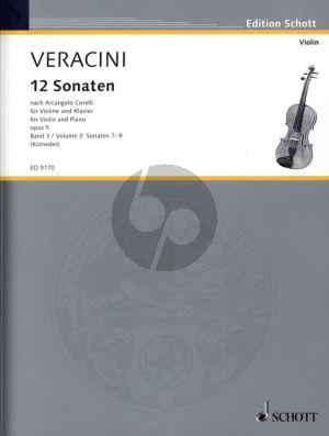 12 Sonaten nach Op. 5 von Corelli Vol. 3 (No. 7-9) fur Violine-Bc