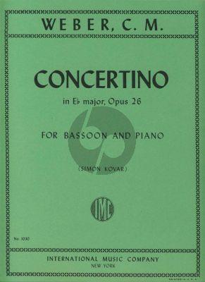 Weber Concertino E-flat major Op.26 Bassoon and Piano (orig.clarinet) (Simon Kovar)