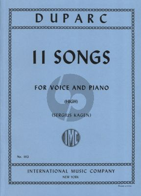 Duparc 11 Songs High (Sergius Kagen)