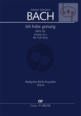 Kantate BWV 82 Ich habe genug (Bass Solo) (version c-moll) (Vocal Score)