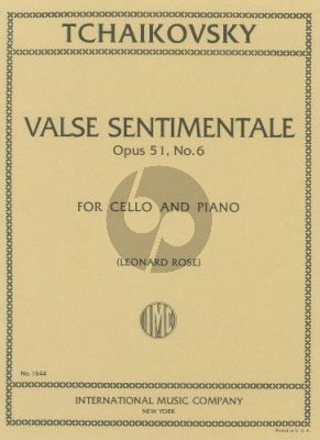 Tchaikovsky Valse sentimentale Op.51 No.6 Violoncello-Piano (Rose)