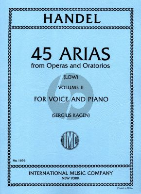 Handel 45 Arias Vol. 2 Low Voice-Piano (Sergius Kagen)