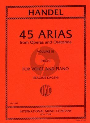 Handel 45 Arias Vol. 3 High Voice and Piano (Sergius Kagen)