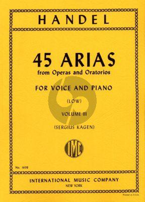 Handel 45 Arias Vol. 3 Low Voice and Piano (Sergius Kagen)