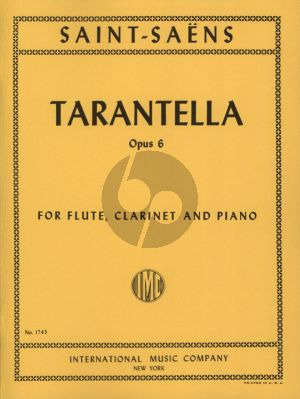 Saint-Saens Tarantella Op. 6 Flute-Clarinet in A and Piano (Score/Parts)