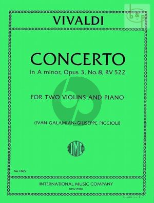 Concerto a-minor Op.3 No.8 RV 522 2 Violins and Piano