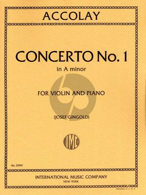 Accolay Concertino No.1 a minor Violin and Piano (edited by Josef Gingold) (IMC)