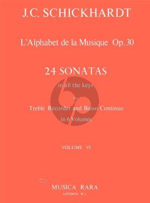 L'Alphabet de La Musique Op.30 - 24 Sonatas Vol.6 No.21-24 Treble Recorder and Bc
