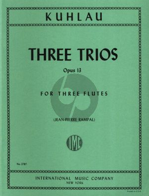 Kuhlau 3 Trios Op. 13 3 Flutes (Parts) (edited by J.P.Rampal)