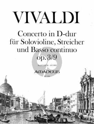 Vivaldi Konzert D-dur RV 230 (Op.3 No.9) Violine-Streicher-Bc (L'Estro Armonico) Partitur (Yvonne Morgan)