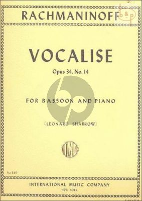 Vocalise Op.34 No.14 Bassoon-Piano