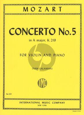 Mozart Concerto A-major No.5 KV 219 (Cadenzas by Joseph Joachim) (edited by Ivan Galamian) (IMC)
