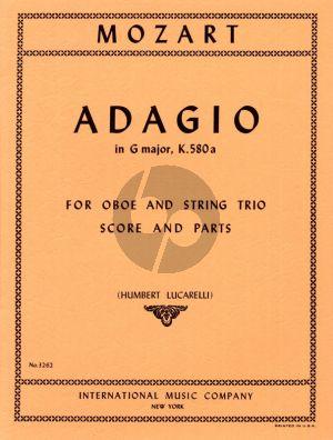 Mozart Adagio G-major KV 580a Oboe-Violin-Viola and Cello (Score/Parts) (Humbert Lucarelli)