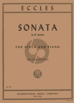 Eccles Sonata g-minor Viola and Piano (arr. Milton Katims)