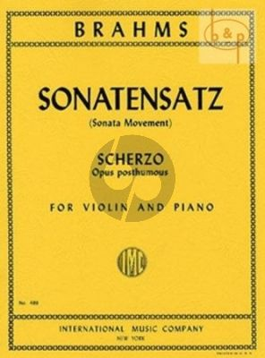 Sonatensatz (Scherzo) Op. Posth. Violin and Piano