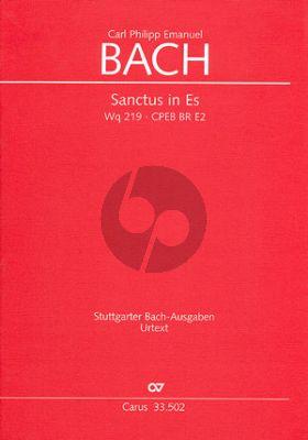 Bach Sanctus Es-dur WQ 219 SATB- 3 Tromp.-Timp.- 2 Oboen- 2 Vi.-Va.-Vc.[Kb]-Orgel Partitur (Neubacher)